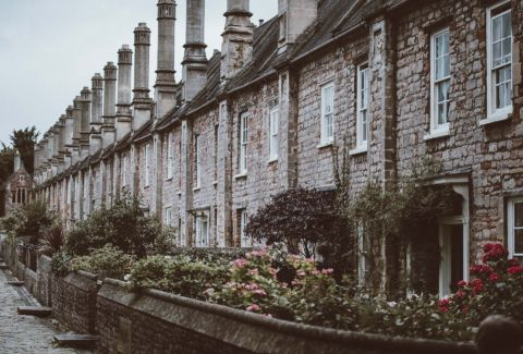 Row of stone walled houses