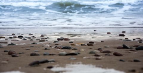 Ground level shot of a pebble beach looking out to sea
