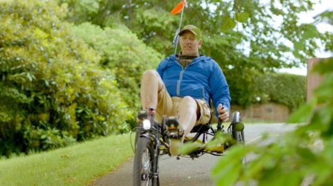 Dave in recumbent wheelchair